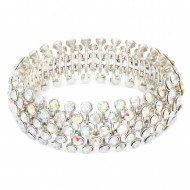 Rhodium Plated With AB Crystal Stretch Bracelets Tennis 5 Row Rhinestone Bridal Evening Party Jewelry For Woman Bangle