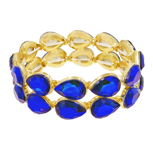 Gold Plated With Blue AB Crystals Stretch Bracelets