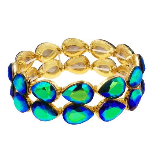 Gold Plated With Gold Green AB Crystals Stretch Bracelets