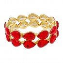 Gold Plated With Red Crystals Stretch Bracelets