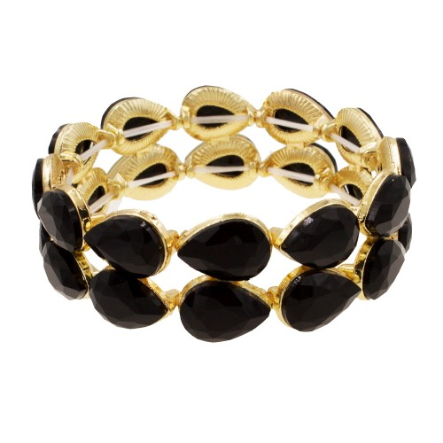 Gold Plated With Hematite Crystals Stretch Bracelets
