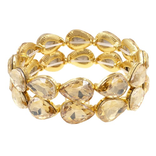Gold Plated With Topaz Crystals Stretch Bracelets