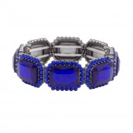 Black Tone with Royal Blue Emerald Shape Rhinestone Stretch Bracelet Jewelry
