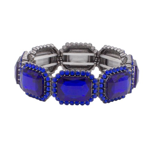 Black Tone with Royal Blue Emerald Shape Rhinestone Stretch Bracelet Jewelry
