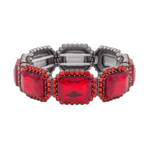 Black Tone With Red Emerald Shape Rhinestone Stretch Bracelet Evening Party Jewelry