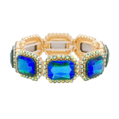 Gold Plated With Green AB Emerald Shape Rhinestone Stretch Bracelet Evening Party Jewelry