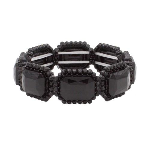 Jet Black Emerald Shape Rhinestone Stretch Bracelet Evening Party Jewelry