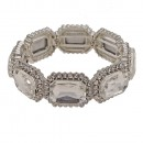 Rhodium Plated With AB Emerald Shape Rhinestone Stretch Bracelet Evening Party Jewelry