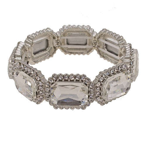 Rhodium Plated With Clear Emerald Shape Rhinestone Stretch Bracelet Evening Party Jewelry