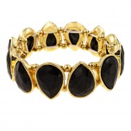 Gold Plated With Black Crystals Tear Drop Stretch Bracelets