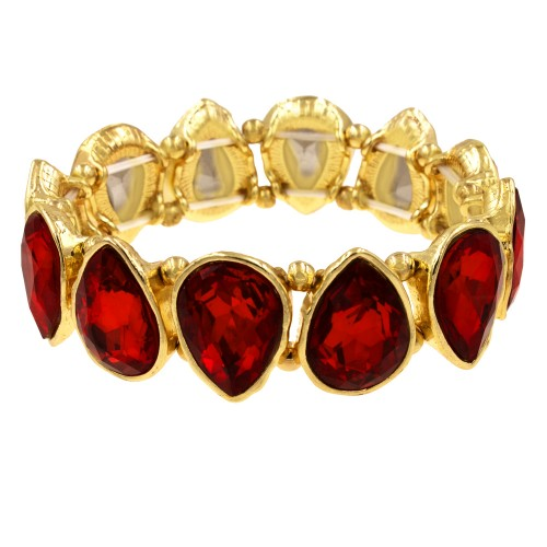 Gold Plated With Red Crystals Tear Drop Stretch Bracelets