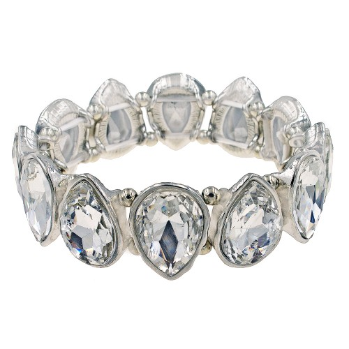 Rhodium Plated With Clear Crystals Tear Drop Stretch Bracelets