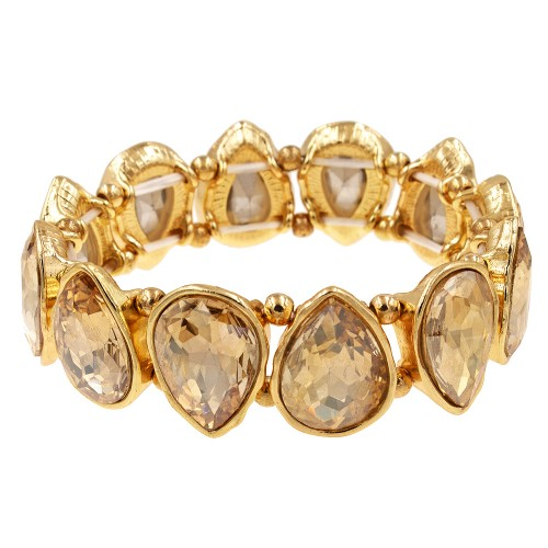 Gold Plated With Topaz Crystals Tear Drop Stretch Bracelets