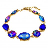 Gold Plated With Blue AB Crystal Lobster Clasps Toggle Bracelets