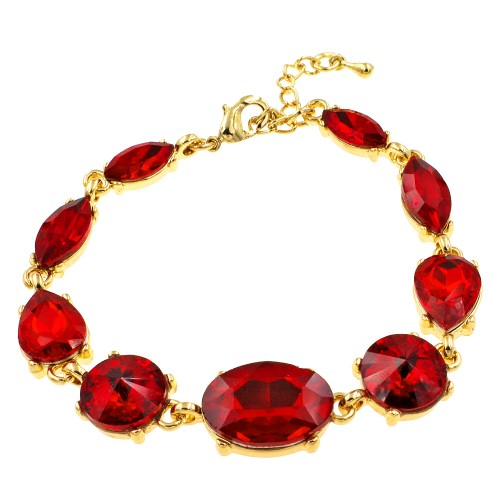 Gold Plated With Red Crystal Lobster Clasps Toggle Bracelets