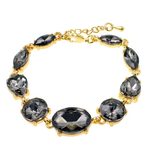Gold Plated With Black Crystal Lobster Clasps Toggle Bracelets