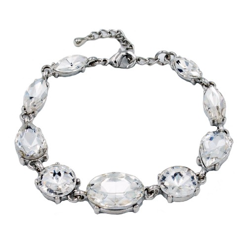 Rhodium Plated With Clear Crystal Lobster Clasps Toggle Bracelets