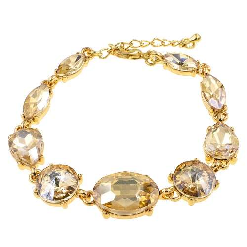 Gold Plated With Topaz Crystal Lobster Clasps Toggle Bracelets