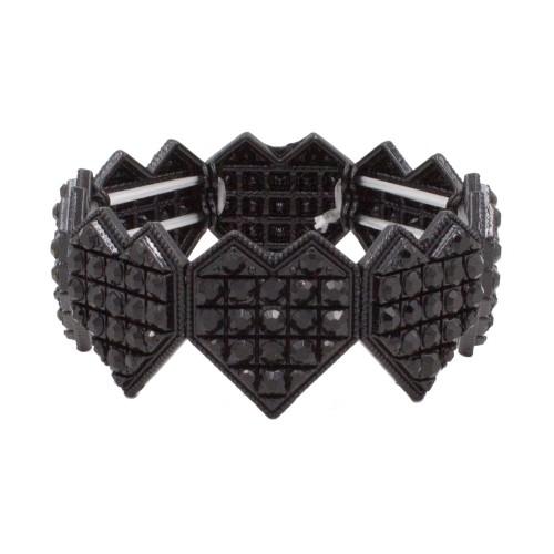 Jet Black Heart Shape Rhinestone Stretch Bracelet Evening Party Jewelry 7 Inch