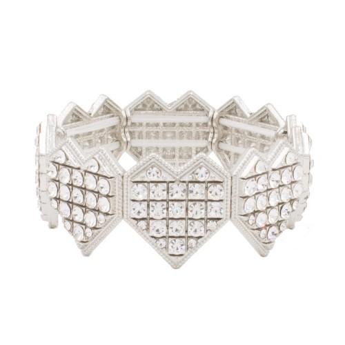 Rhodium Plated With Heart Shape Rhinestone Stretch Bracelet Evening Party Jewelry 7 Inch