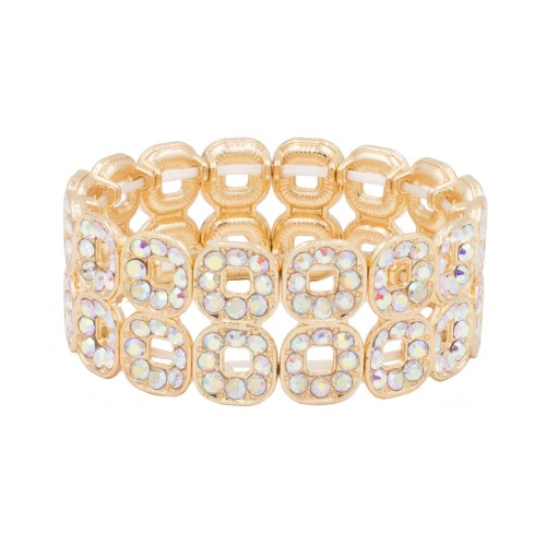 Gold Plated With AB Square Shape Hollow Rhinestone Stretch Bracelet Evening Party Jewelry 7 Inch