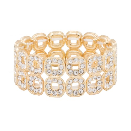 Gold Plated with Square Shape Hollow Rhinestone Stretch Bracelet Evening Party Jewelry 7 Inch