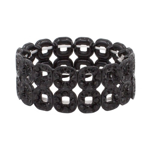 Jet Black Square Shape Hollow Rhinestone Stretch Bracelet Evening Party Jewelry 7 Inch