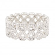 Rhodium Plated With Square Shape Hollow Rhinestone Stretch Bracelet Evening Party Jewelry 7 Inch