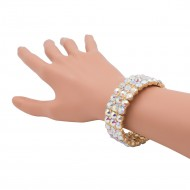 Gold Plated With AB Round Shape Rhinestone 3 Lines Stretch Bracelet Evening Party Jewelry 7 Inch