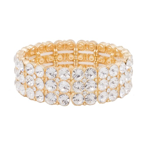 Gold Plated Round Shape Rhinestone 3 Lines Stretch Bracelet Evening Party Jewelry 7 Inch