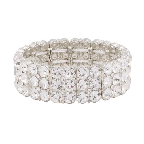 Rhodium Plated with Round Shape Rhinestone 3 Lines Stretch Bracelet Evening Party Jewelry 7 Inch
