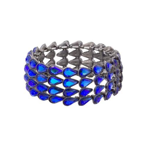 Black Tone with Blue AB Pear Shape Rhinestone 4 Lines Stretch Bracelet Evening Party Jewelry 7 Inch