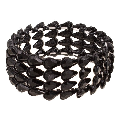 Jet Black Pear Shape Rhinestone 4 Lines Stretch Bracelet Evening Party Jewelry 7 Inch