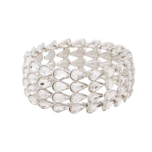 Rhodium Plated with Clear Pear Shape Rhinestone 4 Lines Stretch Bracelet Evening Party Jewelry 7 Inch