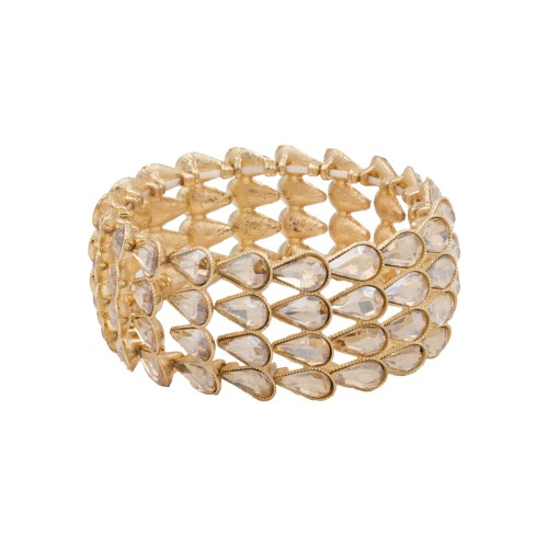 Gold Plated with Topaz Pear Shape Rhinestone 4 Lines Stretch Bracelet Evening Party Jewelry 7 Inch