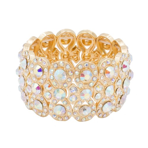 Gold Plated With AB Infinity Shape Rhinestone Stretch Bracelet Evening Party Jewelry 7 Inch