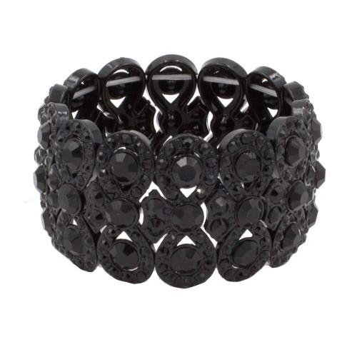 Jet Black Infinity Shape Rhinestone Stretch Bracelet Evening Party Jewelry 7 Inch