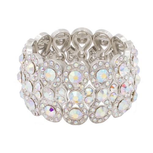 Rhodium Plated With AB Infinity Shape Rhinestone Stretch Bracelet Evening Party Jewelry 7 Inch