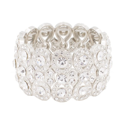 Rhodium Plated with Clear Infinity Shape Rhinestone Stretch Bracelet Evening Party Jewelry 7 Inch