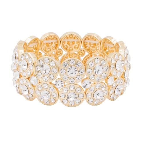 Gold Plated with 2 Rows Rhinestone Stretch Bracelet Evening Party Jewelry