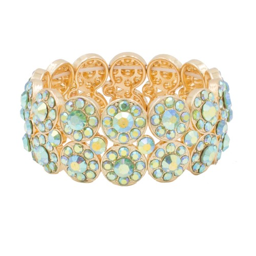 Gold Plated with Green AB 2 Rows Rhinestone Stretch Bracelet Evening Party Jewelry