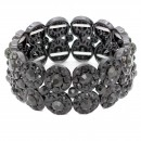 Rhodium Plated With AB 2 Rows Rhinestone Stretch Bracelet Evening Party Jewelry