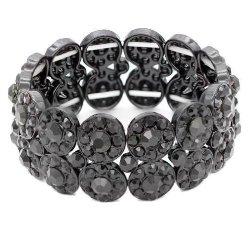 Jet Black 2 Rows Rhinestone Stretch Bracelet Evening Party Jewelry