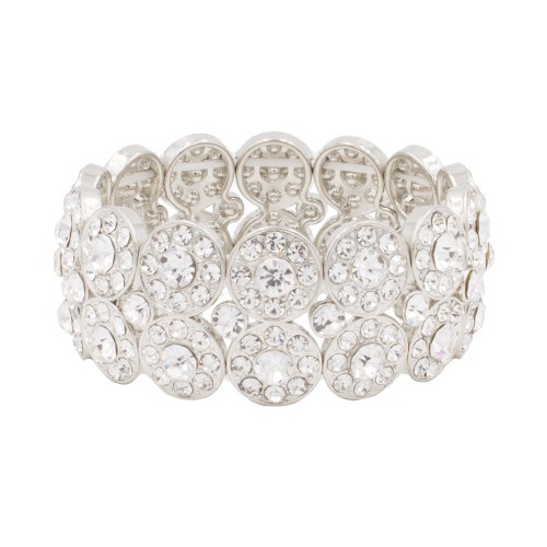 Rhodium Plated with 2 Rows Rhinestone Stretch Bracelet Evening Party Jewelry