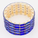 Gold Plated With Blue AB Glass Stretch Bracelets