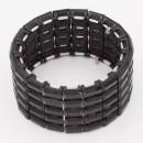 Black Tone with Jet Black Glass Stretch Bracelets