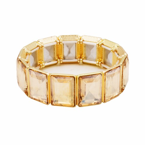 Gold Plated With Champagne Topaz Color Glass Stretch Bracelets