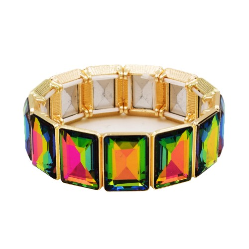 Gold Plated With Green AB Color Glass Stretch Bracelets