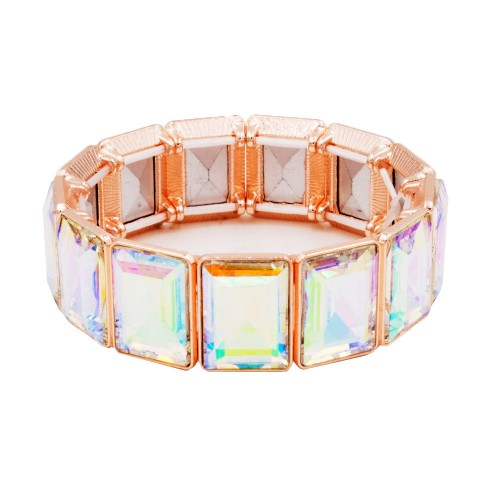 Rose Gold Plated With AB Color Glass Stretch Bracelets