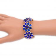 Gold Plated With Blue AB Glass Stretch Flower Bracelets